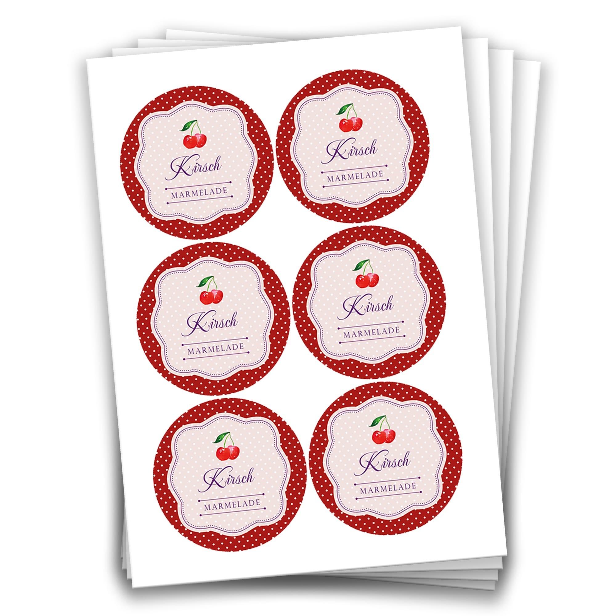 24 Kirsch Marmeladensticker Design 14 Aufkleber 4 Cm Für Selbstgemachte Marmelade Zum Basteln Und Dekorieren